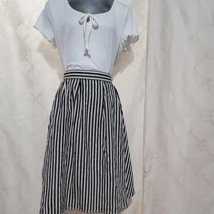 Life In Progress Striped Full Skirt Size S